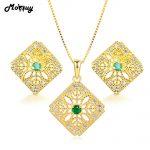 MoBuy 3pcs Natural Gemstone Emerald 2pcs Jewelry Sets 100% 925 Sterling <b>Silver</b> Fine Jewelry For Women Wedding V029EN