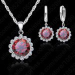 Jemmin Women Wedding Jewelry Sets 925 Sterling <b>Silver</b> With Austrian Crystal Pendant Necklaces And <b>Earrings</b> Set For Brides