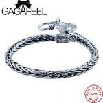 GAGAFEEL Men bracele Genuine 100% Real Pure 925 Sterling <b>Silver</b> dragon bone Men jewelry fine jewelry