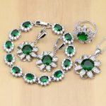 Casual 925 Sterling <b>Silver</b> Jewelry Green Cubic Zirconia White CZ Jewelry Sets Women Earrings/Pendant/Necklace/Rings/<b>Bracelet</b>