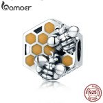 BAMOER New Collection 925 Sterling Silver Honeycomb Honey Bee Square Charm Beads fit Women Bracelet DIY <b>Jewelry</b> Making SCC500