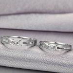 Diamond Couple Set Ring for Men & Women 0.07+0.06ct/pair 18K White Gold <b>Handmade</b> Diamond <b>Jewelry</b> Wedding Band