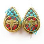 (5 pieces/lot)Nepal Tibetan Type Manual <b>Antique</b> Bead, Flat Teardrop Brass Embed Imitation Turquoises H64480 21x18x9mm