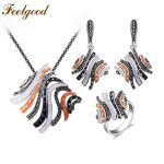 Feelgood Summer Style Silver Color Copper <b>Jewelry</b> Set Multicolor Enamel And Black Rhinestone Big Statement Pendant Necklace Sets