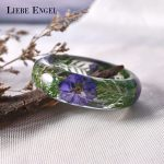 LIEBE ENGEL Exquisite Purple Flower Green Leaf Love Bangle Bracelet Dried Flower Resin Bracelet Cuff Women Gift Indian <b>Jewelry</b>