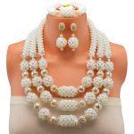 Fashion African Beads Jewelry Set Shiny <b>Silver</b> Ball Dubai White Jewelry Set Nigerian Wedding Bridal For Women