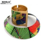 MANILAI Trendy Country Style Multicolor Painting Torques Cuff Bracelet Bangles Necklace Sets Women Indian Statement <b>Jewelry</b>