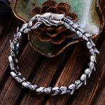 MetJakt Vintage Thai <b>Silver</b> Keel Men's <b>Bracelet</b> Solid 100% S925 Sterling <b>Silver</b> Punk Rock <b>Bracelet</b> for Luxury Male Biker Jewelry
