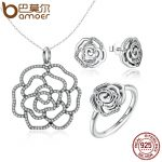 BAMOER 100% 925 Sterling Silver Shimmering Rose Pendant Necklace <b>Jewelry</b> Sets Sterling Silver <b>Jewelry</b> ZHS027