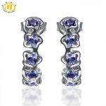 Hutang New Natural Iolite Flower <b>Earrings</b> Solid 925 Sterling <b>Silver</b> Gemstone <b>Earring</b> Fine Jewelry Women's Mother's Day Gift
