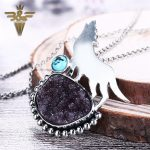 New Design!!<b>Sterling</b> <b>Silver</b> 925 With Drusy Quartz And Turquoise Gemstone Wolf Man And Boy Cool Pendant Gift 19x24mm 6x6mm 17.6g