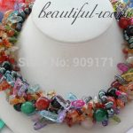 FREE SHIPPING>>>@@ > &>>>5row 18″ multicolor round stone strip crystal black pearl stine <b>NECKLACE</b>