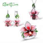 Flower Jewelry Set Enamel Pink Flower Jewelry Cubic Ziconia Rings <b>Earrings</b> Pendant 925 Sterling <b>Silver</b> Jewelry Set for Women