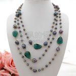 N052501 74″ Black Pearl Green Crystal Necklace