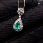 natural green emerald gem pendant S925 <b>silver</b> Natural gemstone Elegant water drop Flower Pendant Necklace girl party <b>jewelry</b>