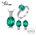 JewelryPalace Oval Cut Green Created Emerald <b>Jewelry</b> Set Earring Ring Pendant Necklace 925 <b>Sterling</b> Sliver Fine <b>Jewelry</b> 2018 Hot