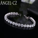 ANGELCZ Classic Round 0.5 Carat CZ Diamante Silver Color Bridal Tennis Bracelets For Woman Luxury Zircon Wedding <b>Jewelry</b> AB030