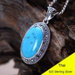 925 <b>Sterling</b> <b>Silver</b> Pendant Blue Turquoise Women Thai <b>Silver</b> Fine <b>Jewelry</b> Gift Necklace Accessories DIY Kit CH052566