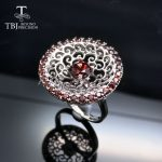 Tbj,2017 stylish Mozambique Red Garnet gemstone Ring in 925 sterling <b>silver</b> fine <b>jewelry</b> for lady party with <b>jewelry</b> box
