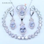 L&B Pure Love style Water Drop White Crystal White Zirconia <b>Silver</b> Color Jewelry Sets 925 Logo For Women Pretty <b>Bracelets</b> Sets