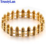 TrustyLan Hip-Hop Punk Rock <b>Jewelry</b> Unique Bullet Shape Man Bracelet Gold Color Stainless Steel Bicycle Chain Mens Bracelets