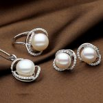 Sinya Natural pearls jewelry set with Ring <b>Earring</b> and Necklace in 925 Sterling <b>silver</b> pearl diameter 10-13mm 2017 new arrival