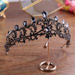 Vintage Baroque Black Crystal Bridal Tiaras CrownS Wedding Bride <b>jewelry</b> Rhinestone Headwear Women <b>Handmade</b> Hair Ornaments CR046
