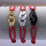 Moonmory France Style 925 Sterling <b>Silver</b> Handcuff <b>Bracelet</b> With Red Rope Handcuffs <b>Bracelets</b> For Women Adjustable 4 Colors