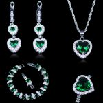 Russian Trendy Engagement Jewelry Sets For Women Green Created Emerald White Zircon 925 Stamp <b>Silver</b> Color Jewelry <b>Bracelets</b>