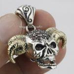 Devil Goat Skull Red CZ Head 925 Sterling <b>Silver</b> Mens Biker Pendant 8N021(<b>Necklace</b> 24inch)