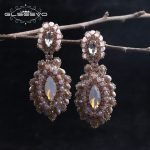 GLSEEVO Natural Pink Crystal Opal Retro Handmade Luxury Drop Earrings Women Fine <b>Jewelry</b> Brincos 2018 Boucle D Oreille GE0352