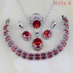 Red Zircon White Rhinestone 925 Sterling <b>Silver</b> Jewelry Sets For Women Earrings/Pendant/Necklace/<b>Bracelet</b> 6 <b>Bracelets</b> Availabled