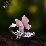Lotus Fun Real 925 <b>Sterling</b> <b>Silver</b> Natural Original Handmade Designer Fine <b>Jewelry</b> Cute Butterfly on Branch Female Rings Bijoux