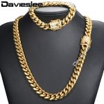 Davieslee Miami Curb Womens Mens Jewelry Set Iced Out Cubic Zirconia CZ 316L Stainless Steel Gold <b>Silver</b> 12/14mm DHSM03