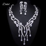 DOKOL Luxury Pear Cut Zircon Bridal Jewelry Sets Micro Paved AAA+ CZ <b>Earring</b> Necklace Set <b>Silver</b> Color bijoux DKS0035