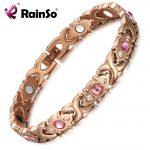 RainSo Pink Crystal Gem Bracelet Magnetic Health Bio Energy Bracelets Rose Gold <b>Fashion</b> <b>Jewelry</b> Christmas Gifts for Women Lady