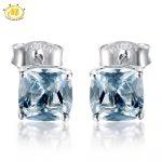 HUTANG Diamond Stud Earrings for Women Fine <b>Jewelry</b> 1.817ct Natural Aquamarine Cushion Korean Solid 925 <b>Sterling</b> <b>Silver</b> Earring