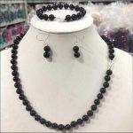 Prett Lovely Women's Wedding New fashion 8MM black stone necklace Bracelets earrings Set >AAA GP Bridal wide wat boucle