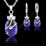 JEXXI New Fashion 7 Colours Fine Oval Crystal 925 Sterling Silver <b>Jewelry</b> Set Pendant Necklace Earrings Jewellery Collection
