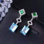 natural blue topaz stone drop earrings 925 <b>silver</b> Natural gemstone earring women Square fine drop earrings <b>jewelry</b> for party
