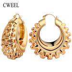 CWEEL Vintage Gold Color Big Hoop Earrings For Women Unique Design Seaside Anniversary Wedding <b>Jewelry</b> Accessories Bridal Gift