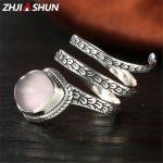 ZHJIASHUN Thai <b>Silver</b> Pink Stone Rose Quartz Rings 925 Sterling <b>Silver</b> Finger Ring for Women Water Drop Shape Fine <b>Jewelry</b>