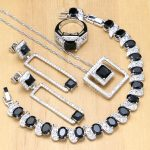 925 <b>Silver</b> Bridal Jewelry Black Stone White Crystal Jewelry Sets For Lady Wedding Earrings/Pendant/Necklace/Rings/<b>Bracelet</b>