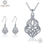 Angel Caller Authentic 925 Sterling <b>Silver</b> Celtics Knot Jewelry Sets Dangle <b>Earrings</b> Pendant Necklace for Women Fine Jewelry