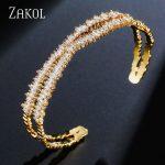 ZAKOL Brand <b>Jewelry</b> AAA Cubic Zircon Multi-Layered Baguette Bracelets <b>Fashion</b> X Shape Cuff Bangle for Women Girl Gift FSBP151