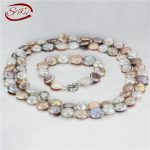 SNH 12-13mm coin AA mixed color 925silver 36inches &8inches pearl <b>jewelry</b> sets