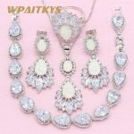 Exquisite Water Drop White Create Opal 925 <b>Silver</b> Jewelry Sets For Women Necklace Earrings Ring <b>Bracelet</b> Free Box