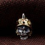 FNJ 925 Silver Skull Pendant Skeleton Hang Original S925 Thai Silver Pendants Men Women for <b>Jewelry</b> <b>Making</b>