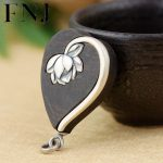FNJ 925 Silver Sandalwood Pendant Original S925 Lotus Flower Thai Silver Pendants for Women Men <b>Jewelry</b> <b>Making</b>