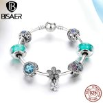 Authentic 925 <b>Sterling</b> <b>Silver</b> Radiant Crystal, Daisy Flower Pendant Snowflake Femme Charm Bracelets & Bangles <b>Jewelry</b> GYB017